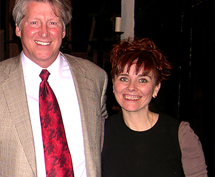 "Christina with author Ron Hansen following a performance of her adaptation of his novel, ""Mariette in Ecstasy."""